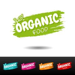 Wall Mural - Set of Organic food badges. Vector hand drawn labels.