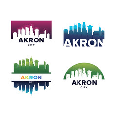 Cityscapes Skylines of Akron City Silhouette Logo Template Collection