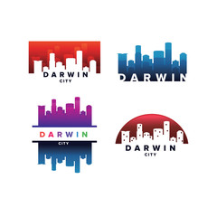 Cityscapes Skylines of Darwin City Silhouette Logo Template Collection