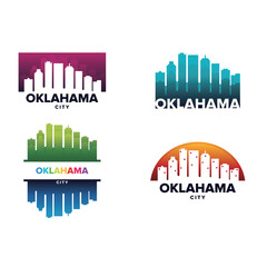 Cityscapes Skylines of Oklahoma City Silhouette Logo Template Collection