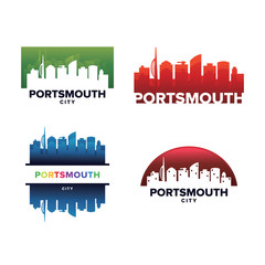 Cityscapes Skylines of Portsmouth City Silhouette Logo Template Collection