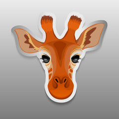 Illustration of sticker with a portrait of a giraffe. Sticker of a giraffe on gray background. Vector illustration.