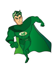 A cartoon superhero character with a green cape and costume and an leafs symbol on his chest.Isolated on white.