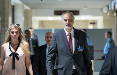 Syrian Ambassador to the United Nations Bashar al-Jaafari arrives for a new round of negotiations with UN Special Envoy of the Secretary-General for Syria Staffan de Mistura, during the intra-Syrian talks, at Palais des Nations in Geneva