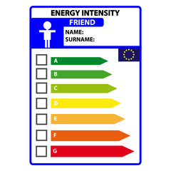 Funny energy efficience label for friend isolated on white background. Vector illustartion.