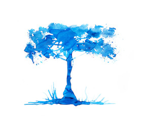 Tree made of beautiful watercolour effects. Watercolour textured collection.