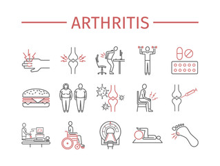 Arthritis. Symptoms, Treatment. Line icons set. Vector signs