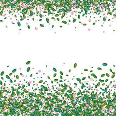 Colorful spring background with pink flowers and green leaves. Stylized vector illustration in cartoon style