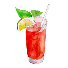 Red juice in glass with mint and lemon, watercolor illustration isolated on white background.