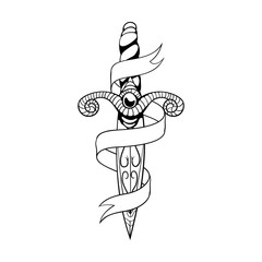Dagger and ribbon. Vector illustration in old school tattoo style.EPS8