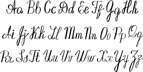 English alphabet - ABC - black on white handwritten lettering.
