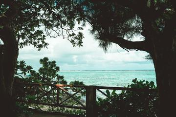 Urlaubsgefühl am tropischen Meer mit Steinen und klarem Wasser