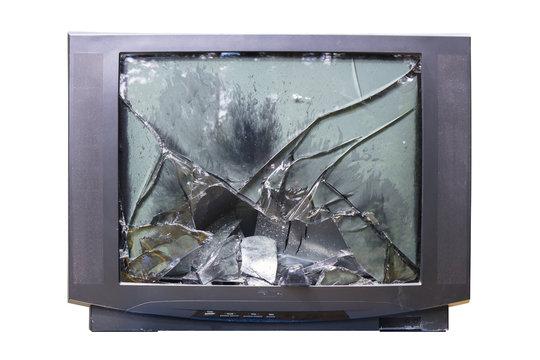Fernsehkritik, geplatzte Bildröhre, Röhrenfernseher, Filmkritik, old shabby TV Set with broken glass tube, Binge watching, krimi, thriller, tatort,