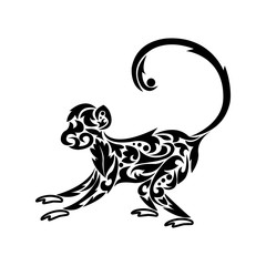 Silhouette of a monkey. Vector illustration. Tattoo. Silhouette of a monkey with an ornament.