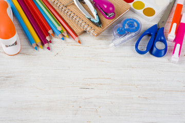 Above view of school and office supplies with copy space