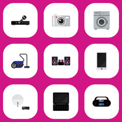 Set Of 9 Editable Technology Icons. Includes Symbols Such As Notebook, Cellphone, Laundromat And More. Can Be Used For Web, Mobile, UI And Infographic Design.