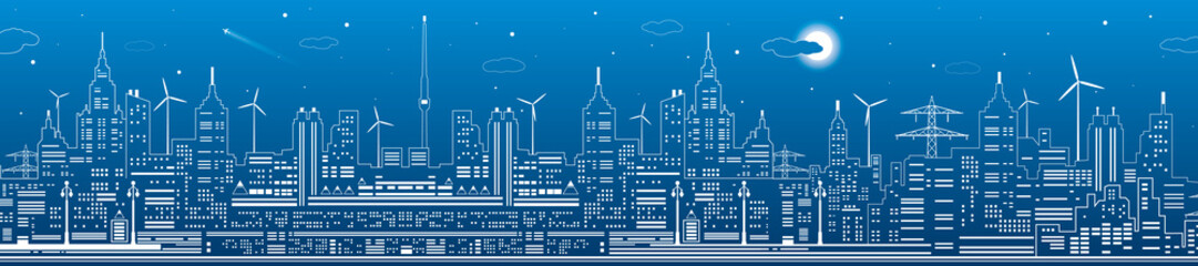 Night city panorama, town infrastructure illustration, modern skyline, white lines on blue background, urban scene, vector design art