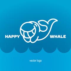 Happy whale logo design. Vector illustration. EPS 10