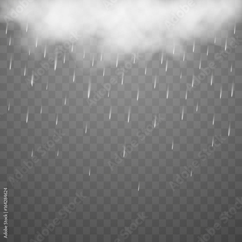 storm and lightning with rain and white cloud isolated on