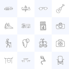Set Of 16 Editable Camping Icons. Includes Symbols Such As Photographing, Flying Toy, Caravan And More. Can Be Used For Web, Mobile, UI And Infographic Design.