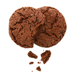 Photo sur Toile Biscuit Chocolate cookies isolated on white background