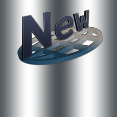Modern web banner, spelling the word NEW, a design with blue jeans colors, Isolated against the silver background.