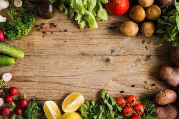 Foto op Plexiglas Groenten Fresh farm market vegetables, organic fruits and greens on rustic wooden background. Top view with copy space