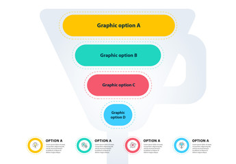 Colorful Funnel Four Section Infographic Layout