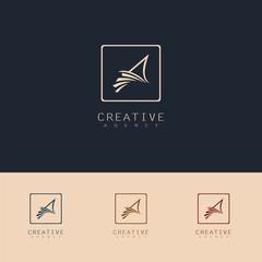 abstract sail symbol logo