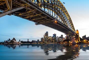 Poster Sydney Dramatic panoramic sunset photo Sydney harbor
