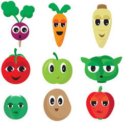 Illustration Vector of Coloured Cartoon Vegetables With Eyes and Faces