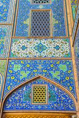 Beautiful mosaic panel at Imam Mosque, Isfahan-Iran.