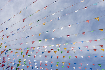 Line of colorful festival flags