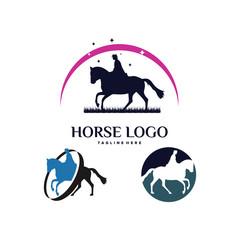 Equestrian Horse Ride Logo Template Design Vector, Emblem, Design Concept, Creative Symbol, Icon