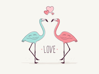 Flamingo Couple in Love.