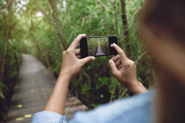 woman use phone taking nature photo