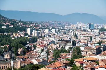 panoramic view over sarajevo, bosnia and herzegovina