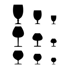 Wine glass black set on white background