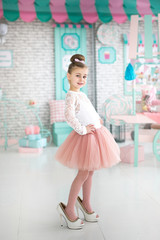 Beautiful Girl in mother's shoes