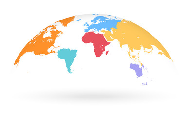 Multicolored Vector Globe Map