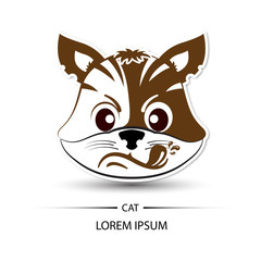 Cat face touchy logo and white background vector