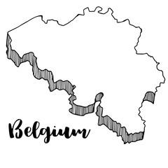 Hand drawn of Belgium map, vector illustration