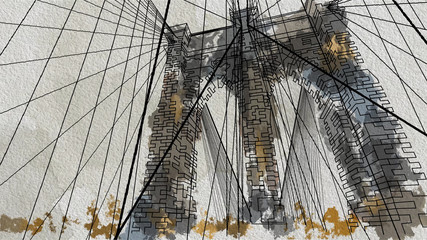 Watercolor style illustration of the Brooklyn Bridge in New York. Down view.