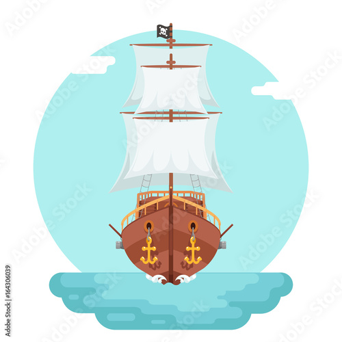 Front View Wooden Pirate Buccaneer Filibuster Corsair Sea Dog Ship Game Icon Isolated Flat Design Vector