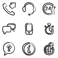 Customer Service Icons Freehand