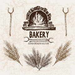 Digital vector detailed line art bakery and bread hand drawn retro illustration collection set, stove oven. Thin artistic pencil outline. Vintage ink flat, engraved simple doodle sketches. Isolated