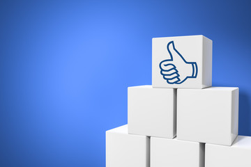 cubes with thumb up for social networking