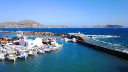 Aerial drone photo of Naousa one of the most picturesque fishing villages and ports in the Aegean, Paros island, Cyclades, Greece