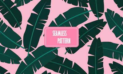 Seamless tropical pattern with banana leaves. Composition of green palm banana leaf on a light pink background. Print summer seamless vector pattern wallpaper. Vector illustration.