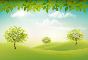 Wall Mural - Summer nature background with a green trees and landscaper. Vector